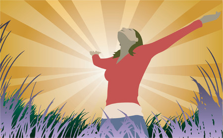 Woman spreads her arms out under the sun, vector Stock Vector - 922258