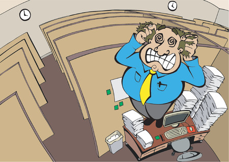 Employee cracks under the stress in his office cubicle, vector Vector