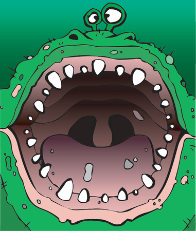 gross: Green monster opens his gigantic mouth, vector