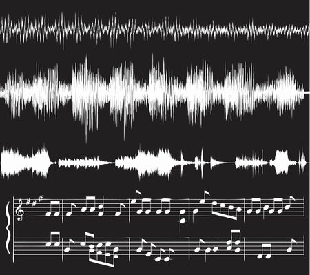 white audio waveforms and musical notes against black, vector