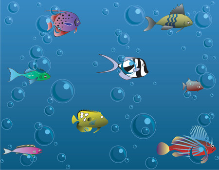 Colorful fish and air bubbles, vector