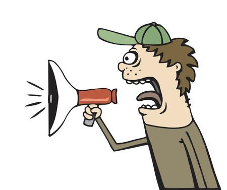 Guy yelling in bullhorn against white
