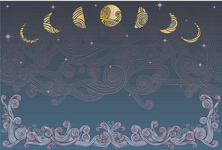 Curly wave pattern borders a night sky and moon phases Illustration