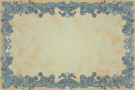 loopy: Curly grunge floral borderborder, background, frame, grunge, floral, pattern, design, pattern, illustration, brown, yellow, wavy, beige, loop, loopy, spiral, swirl, swirly, abstract, curve, curvy, fresh, ornate, conceptual, organic, natural, decorative Illustration