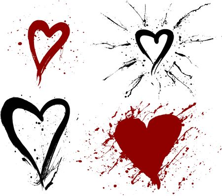 Four drippy, black ink blotch hearts (in separate layers) Vector