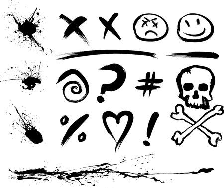 Inkt vlekken en gemeenschappelijke symbolen (in verschillende lagen)