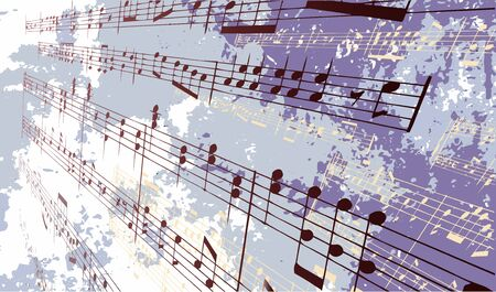 Music notes in front of a textured background Çizim