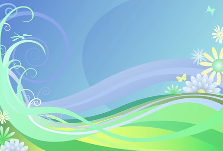 Abstract summertime background with dragonfly, butterflies, and flowers
