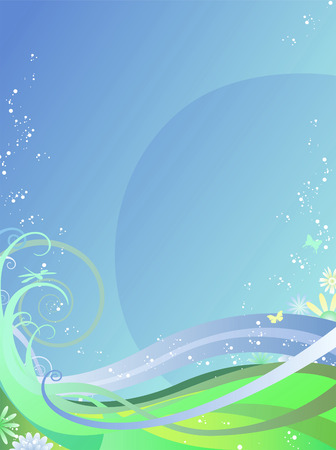 Abstract summer background with dragonflies, butterflies, and flowers Stock Illustratie