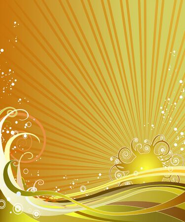 Ornate sun setting behind curly waves. Easy-to-edit layers. Illustration