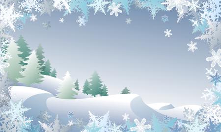 schneelandschaft: Winterscape mit einer Schneeflocke Grenze