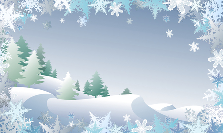 drifts: Winterscape with a snowflake border Illustration