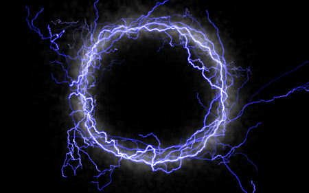 bolt: A glowing ring of lightning against black Stock Photo