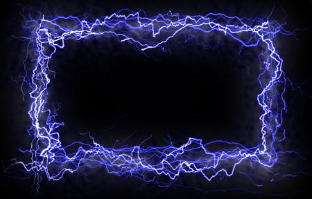 rayo electrico: Tornillos de hacer un rayo de energ�a, futurista marco Foto de archivo
