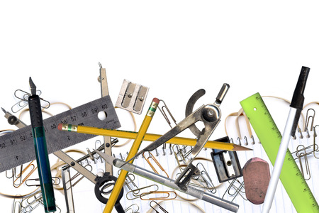 Composite of office and design tools on white Stock Photo