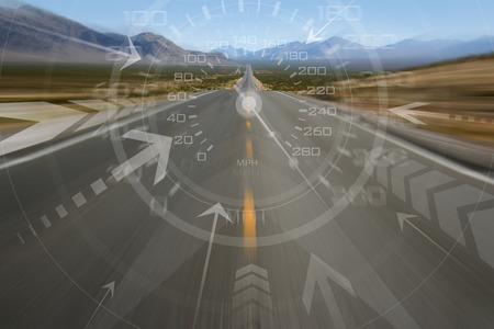 Speeding down an empty desert highway