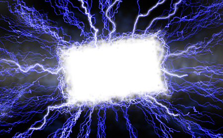 White rectangle with a lightning border over a blue-lightning background.