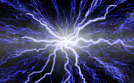 thrilling: Lightning bolts radiating out from center against black background. Stock Photo