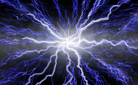 rayo electrico: Rayo pernos irradiando desde el centro a cabo contra fondo negro.