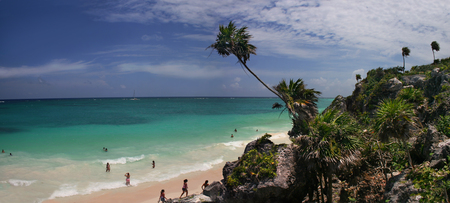 A panoramic vista of a tropical Caribbean beach Stock Photo