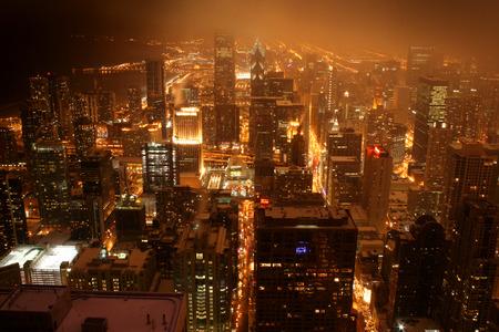 Verhoogde weergave van Chicago in de nacht
