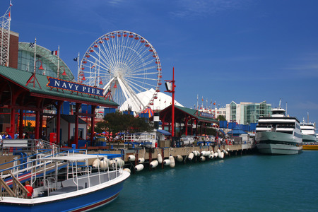 Looking down Navy Pier on a sunny day in Chicago