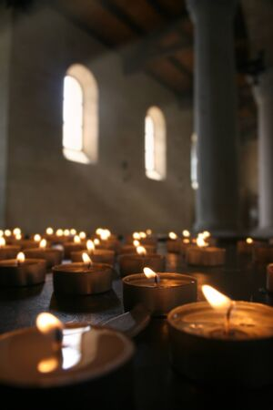 tealight: Church Candles Stock Photo