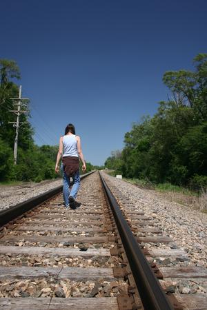 Walking on Train Tracks photo