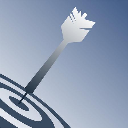 hitting: Un design semplice con un dardo di colpire un bersaglio