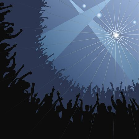 applauding: Fans raise their hands at a concert  Illustration