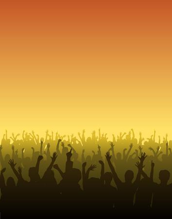 Fans hun handen op een concert te verhogen
