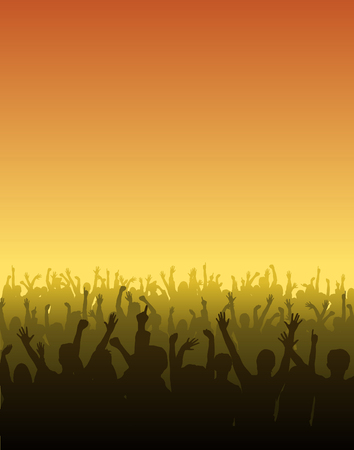 performing arts event: Fans raise their hands at a concert  Illustration