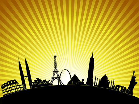 A view of the world's most famous buildings and landmarks.  イラスト・ベクター素材
