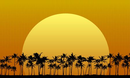 Sun Setting Behind Palm Trees Illustration