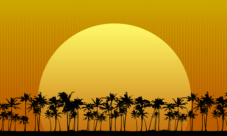 palm tree isolated: Sun Setting Behind Palm Trees Illustration