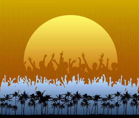 A crowd in silhouette dances and cheers in front a large setting sun on the beach