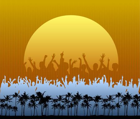 Een menigte in silhouet danst en cheers voor een grote zon op het strand  Stock Illustratie