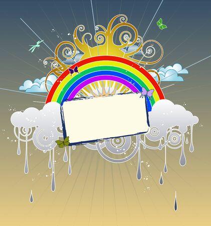 Funky afbeelding met regenwolken, een regenboog, een krullend zon en vlinders. Net verwijder het tekstvak om alleen de afbeelding. Stock Illustratie