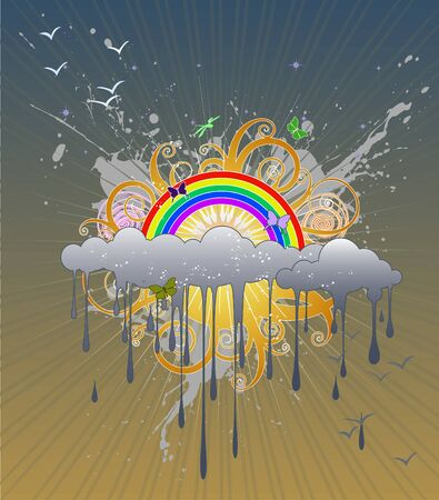 raining: Funky graphic with rainclouds, a rainbow, a curly sun and butterflies.