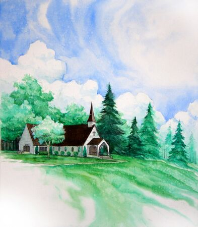 A watercolor painting of chapel out in the country
