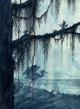 Een aquarel schilderij van een reiger in een moeras Stockfoto