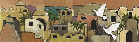 jewish houses: A painting I made of a Jerusalem hillside (could be any mediterranean city).