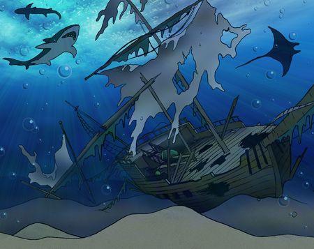 sinking: Shipwreck Illustration Stock Photo