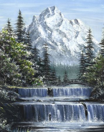 An oil painting of cascading river waterfalls with a mountain in the background