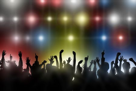 nightclub crowd: Fans raise their hands at a concert Stock Photo