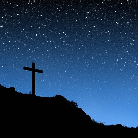 catholicism: Cross Under Stars