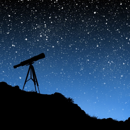 twinkles: Telescope Under the Stars Stock Photo