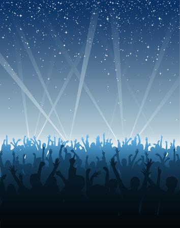 cheering crowd: Cheering Crowd Under Stars