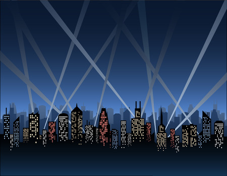opening party: Searchlights lo largo de un horizonte de la ciudad