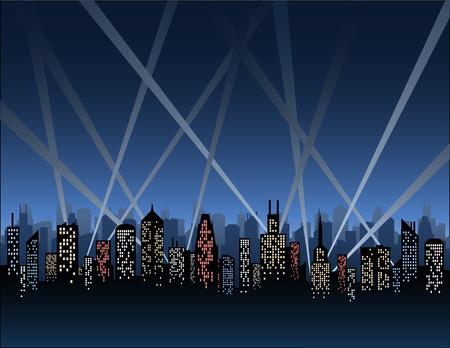 Zoeklichten Over een City Skyline